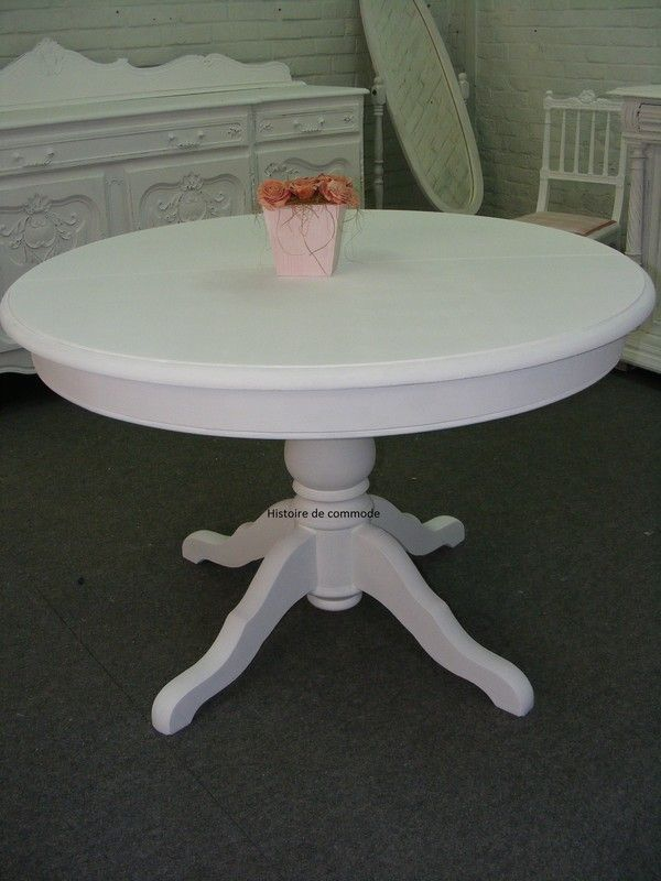 Table ronde avec rallonge blanche nice table avec for Table blanche a rallonge